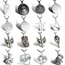 2015 New Stainless Steel Silver Heart Unisex Pendants Leather Necklace Jewelry