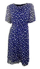 Marks & Spencer Navy & Bianco A Puntini Chiffon Fit & Flare Abito