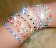 Fashion Tennis Silver Rhinestone Crystal Wedding Bridal Bangle Stretch Bracelet