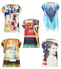 Womens Large Loose T-shirt Vest Tops Short Sleeve Graphic Printed Tees New