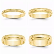 New Solid 10k Yellow Gold Milgrain 3-6MM Wide Sizes 4-14 Wedding Band Ring