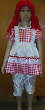NWT Raggedy Doll Girl Costume Red White Gingham Satinette Dress Bloomers  Dance