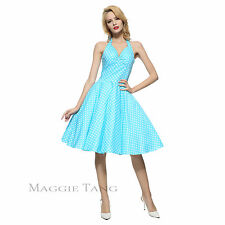 Maggie Tang 50s VTG Polka Dots Housewife Rockabilly Pinup Party Dress 501503505