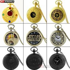 Antique Black Silver Roman Dial Pocket Watch Chain Necklace Quarzt Pendant Gift