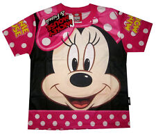 Girls DISNEY MINNIE MOUSE vibrant pink summer t-shirt S-XL Age 3-8 yrs Free Ship
