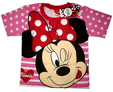 Girls MINNIE MOUSE short sleeve cotton summer t-shirt S-XL Age 4-8yrs Free Ship