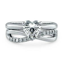 Silver Heart Shaped CZ Criss Cross  Solitaire Engagement Ring Set 0.95 CT