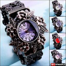 CLASSIC VINTAGE POCKET FLOWER DIAL LADY BRACELET WOMEN ANALOG QUARTZ WRIST WATCH