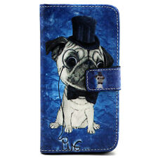 Perky Pug Leather Case Cover For Samsung Galaxy S6/ LG/ Sony Z3 / Z4 / iPhone 6