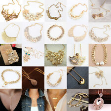 New Hot Sale Fashion Women Crystal Golden Chain Charm Chunky  Pendant Necklace