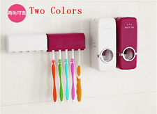 White Red Bathroom Wall-Mounted Tool Auto Toothpaste Dispenser Brush Holder Kit