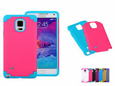 2 in 1 Rubber Hybrid Armor Impact Defender Case Cover For Samsung Galaxy Note 4