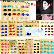 Bulk 12pairs 1Card Ladies' Girls' Crystal Rhinestone Earring Stud 12 Colors