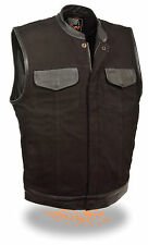 Mens Black Denim Club Style Vest w Leather Trim, Hidden Zipper, Dual Gun Pockets