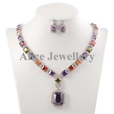 Purple Amethyst Stone White Gold Plated Earrings Pendant Necklace Jewelry Sets