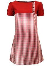 NEW RETRO SIXTIES GINGHAM AND CORD 60s 70s AIRLINE MOD DRESS LUCY RED MC134