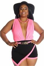 DEALZONE Vibrant Two Tone Romper 1X 2X 3X Women Plus Size Pink Clubwear