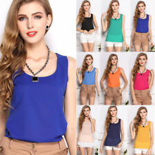 Fashion Womens Slim Summer Casual Chiffon Vest Tops Tank Sleeveless Shirt Blouse