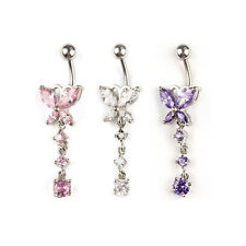 1PC Crystal Butterfly Dangle Ball Barbell Bar Belly Button Navel Ring Pop