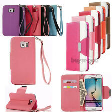 Dual Color Leather Flip Magnetic Cover Card Wallet Stand Case For Samsung Galaxy