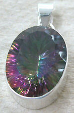 925 STERLING SILVER Real Natural Mystic Topaz Purple Blue BIG OVAL thick Pendant