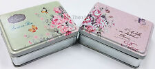 Vintage Metal Rose Floral Tin Jewellery Storage Trinket Box Gift Chic Shabby