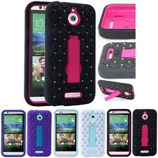 For HTC Desire 510 Diamond Kickstand Case Hybrid Hard Skin Phone Cover