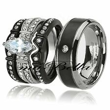 Hot 4 Pc His Titanium Her Black Stainless Steel Wedding Engagement Ring Band Set