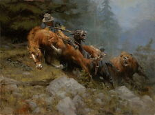Canvas Print Cowboy encounters Bear Oil painting Picture Printed on canvas