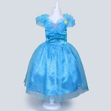 Cinderella 2015 Movie Gown Dress Kids Costume Girls Princess Big Swing Dresses