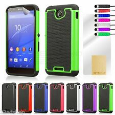 Dual Layer Shockproof Case Cover for Sony Xperia E4 + Screen Protector & Stylus