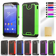 DUAL LAYER Shockproof Case Cover per Sony Xperia E4 + proteggi Schermo & Stilo