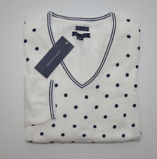 NWT Women's Tommy Hilfiger V-Neck Pullover Sweater White, Blue XS S M L XL 2XL