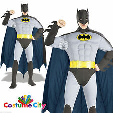Mens Batman Muscle Chest Costume Official Licensed DC Comics Fancy Dress