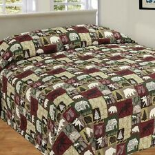 CABIN PATCHWORK QUILTED BEDSPREAD MOOSE BEAR TREE QUEEN KING MOTHERS DAY GIFT
