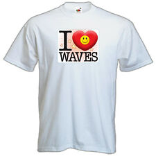 BRAND New T-SHIRT Quality PRINTED Funny I LOVE WAVES, All Sizes, All Colours