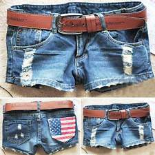 Women's Cool Denim Wash Distressed American Flag Low Waist Short Pants Jeans New