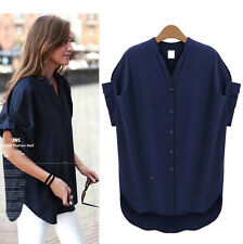Fashion Women Summer Loose Short Sleeve Casual Shirt Tops Blouse PLUS SIZE L~5XL