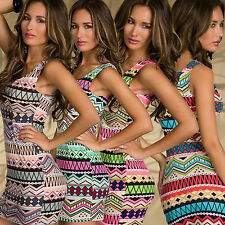 Womens Aztec Print Bodycon Summer Beach Party Cocktail Evening Short Mini Dress