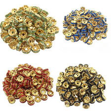 Lots 50/100Pcs Golden Plated Crystal Disc Spacer Loose Beads Charms Jewelry 8mm