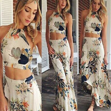 Women Summer Boho Halterneck Long Maxi Evening Party Dress Beach Dress Elegant