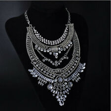 2015 Fashion Vintage Gold/Silver Big Pendant Stateme Necklace Clear Crystal Z203