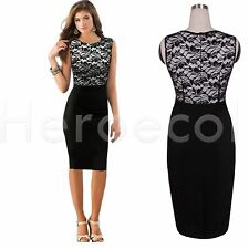 Heroecol Pencil Dress Work Bodycon Stretch Lace Party Cocktail Wiggle Midi HB26