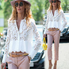 Summer Women's Lace Crochet Loose Chiffon Tops Long Sleeve Shirt Casual Blouse