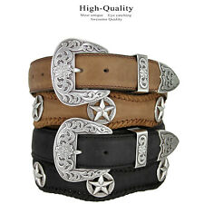 "The Odessa - Western Silver Star Concho Leather Belt 1-1/2"" Wide, Black Brown"