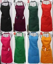 New Womens Cooking Kitchen Restaurant Bib Apron Dress Muti-color Pocket 74*51cm