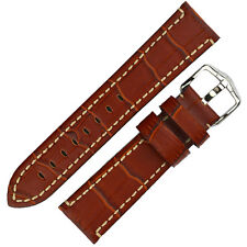 Hirsch KNIGHT Alligator Embossed Leather Watch Strap and Buckle in GOLD BROWN