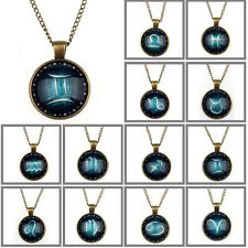 1PC Zodiac Pendant Necklace Glass Cabochon Antique Bronze various unique gift TT