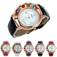 2015 Fashion Crystal Women Ladies Girl Dress Leather Bracelet Quartz Wrist Watch