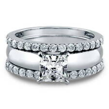 BERRICLE Sterling Silver Princess CZ Solitaire Engagement Ring Set 1.88 Carat